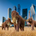 Mammoths in front of a city symbolize the box around our brains