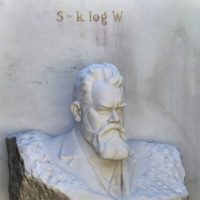 Boltzmann's grave bears his formula for entropy.